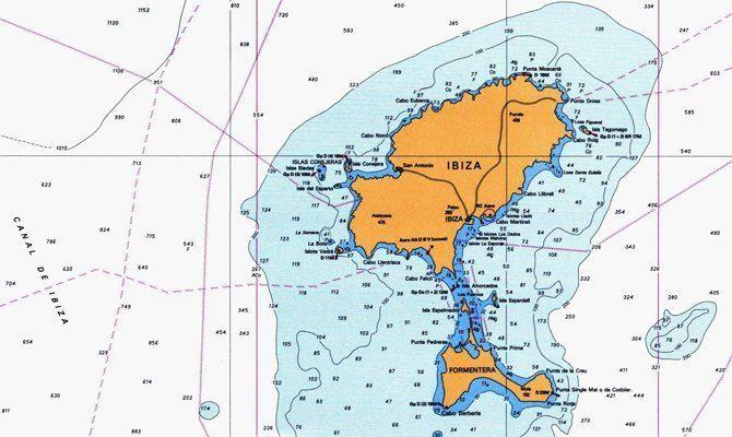 Carta náutica de Ibiza