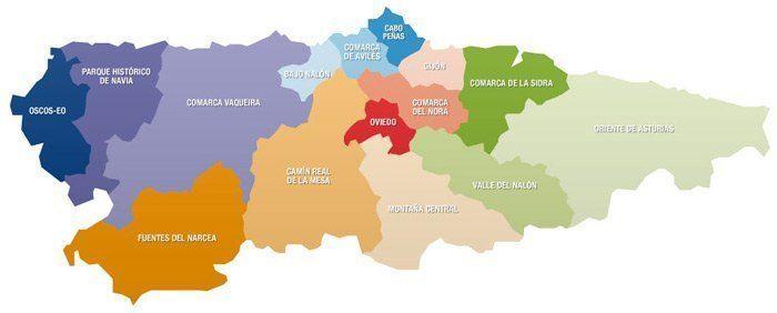 Mapa de Asturias por Comarcas